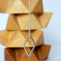 Geometric Necklace, Silver Pendant, Diamond Rhombus Shape