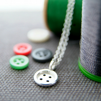 Silver Button Necklace - Sewing Jewellery Gift