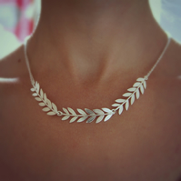 Sterling Silver Olive Branch Necklace, Leaf Necklace, Wedding Jewellery