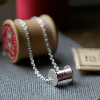 silver sewing necklace, cotton reel necklace, silver bobbin,  ANY COLOUR