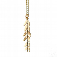 Gold Olive Branch Necklace, Leaf Pendant, 9ct Gold Branch, Wedding Jewellery