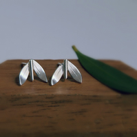 Leaf Stud Earrings, Simple Silver Leaves, Sterling Silver, Handmade Jewellery