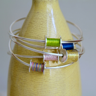 Cotton Reel Silver Bangle, Silver Sewing Gift, ANY COLOUR