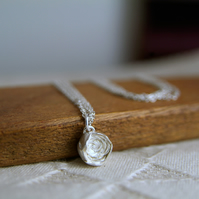 Silver Rose Necklace, Sterling Silver Flower Pendant Necklace, English Rose Bud