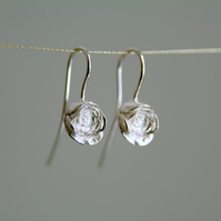 Silver Rose Earrings, Sterling Silver Flower Drops, English Rose Bud, Handmade