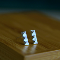 Geometric Pattern Earrings, Sterling Silver Pyramid Earrings, Handmade Jewellery