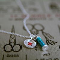 Necklace with Sewing Charms, Reel & Button, Sterling Silver & Cotton