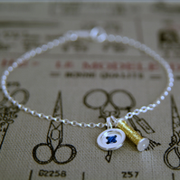 Bracelet with Sewing Charms, Cotton Reel & Button, Handmade in Sterling Silver