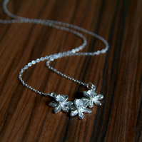 Silver Daffodil Flower Necklace, Spring Flower, Wedding Jewellery