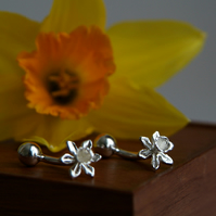 Daffodil Cufflinks - Sterling Silver Stem & Bar Cufflinks