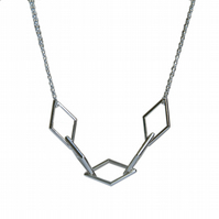 Diamond Shaped Geometric Necklace, Handmade Necklace in Sterling Silver