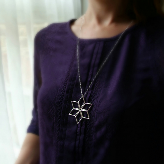 Geometric Star Necklace, Large Star Pendant,Handmade Necklace in Sterling Silver