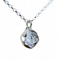 Peony Necklace, Silver Flower Pendant Necklace, Botanical Jewellery