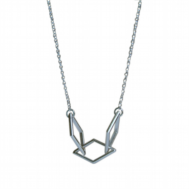 Diamond Shape Geometric Necklace, Handmade Necklace in Sterling Silver