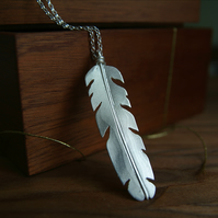 Silver Feather Necklace, Nature Jewellery, Long Feather Pendant