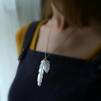 Silver Feathers Necklace, Nature Jewellery, Double Feather Pendant