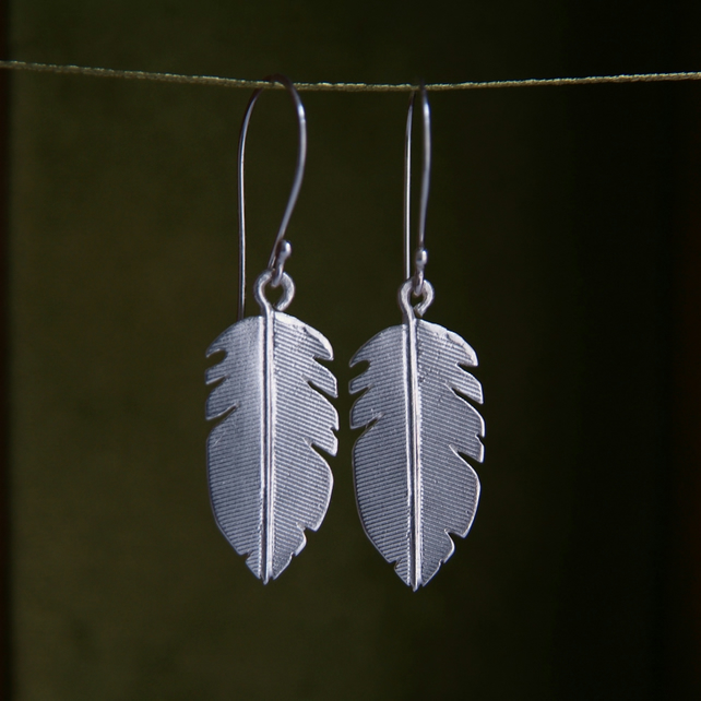 Silver Feather Earrings, Handmade in Sterling Silver, Nature Jewellery