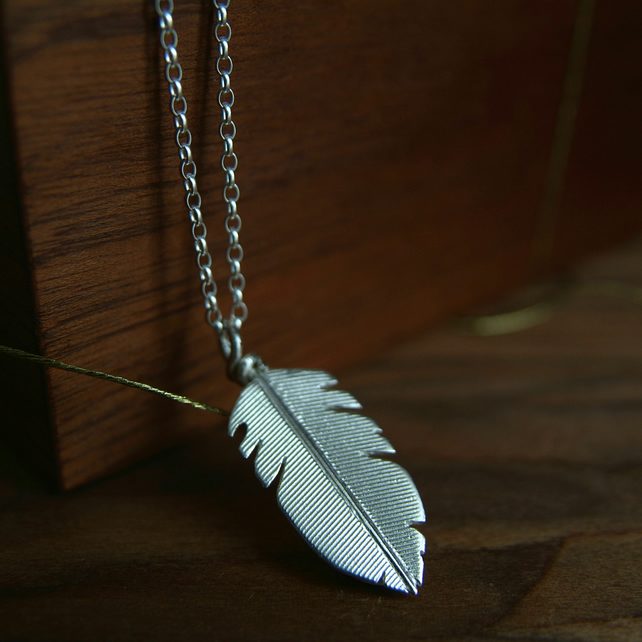 Silver Feather Necklace, Handmade in Sterling Silver, Nature Jewellery