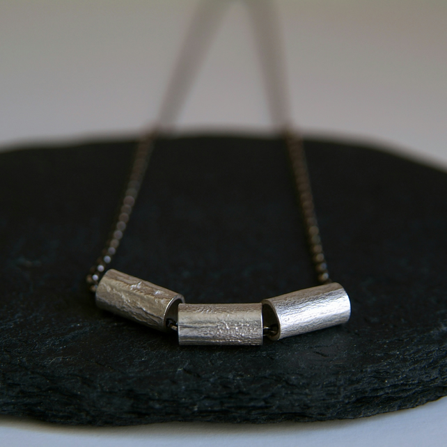 Tubular Silver Necklace - Molten Surface Texture - Geometric Jewellery