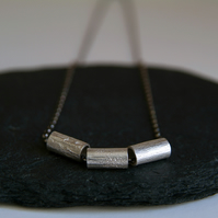 Silver Geometric Tube Necklace - Textured Spinning Necklace -  Mixed Colours