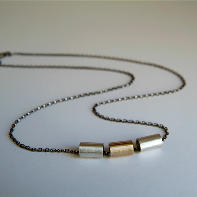 Silver and Gold Spinning Necklace - Mixed Metals Necklace - Modernist Jewellery