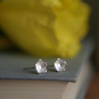 Tiny Flower Stud Earrings - Forget Me Not - Sterling Silver - Flower Girl