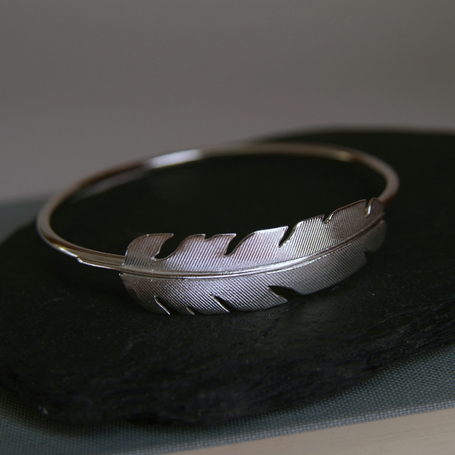 Silver Feather Bangle Bracelet - Bird Feather Jewellery - Angel Feather Gift