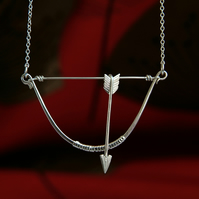 Bow & Arrow Necklace, Sterling Silver, Handmade Jewellery, Gift for Girlfriend