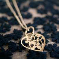 Flowers in a Heart Pendant, Blooming Heart Necklace, Sterling Silver