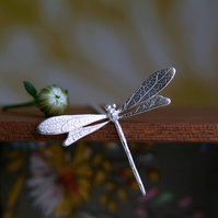 Dragonfly Necklace, Sterling Silver Dragonfly Pendant, Nature Jewellery