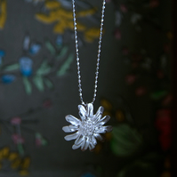 Daisy Flower Necklace, Sterling Silver Pendant, Handmade Jewellery