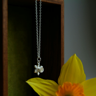 Silver Flower Necklace, Daffodil Pendant, Spring Flower, Welsh Flower