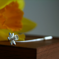 Daffodil Brooch, Spring Flower, Silver Pin, Mother's Gift, Handmade Jewellery