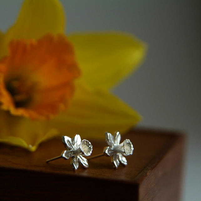 Sterling Silver Flower Earrings, Daffodil Earrings, Spring Flower, Welsh Gift