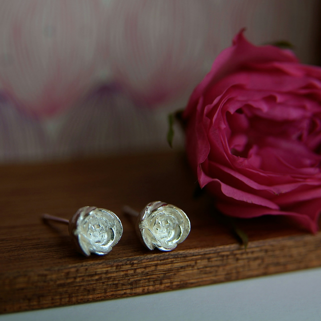 Silver Rose Earrings, Sterling Silver Flower Studs, English Rose Bud, Handmade