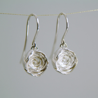 Silver Rose Earrings, Sterling Silver Flower Drops, English Rose Earrings