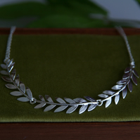 Olive Branch Collar Necklace - Handmade Silver Necklace - Gift for a Goddess