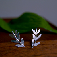 Olive Leaf Wrap Earrings, Sterling Silver Earrings, Grecian Style, Handmade