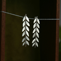 Silver Olive Branch Leaf Earrings, Long Earrings