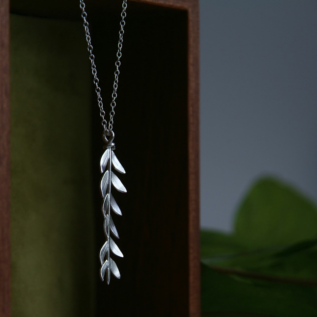 Silver Branch Necklace, Olive Leaf Necklace, Handmade Jewellery,Sterling Silver