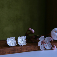 Pretty Blossom flower stud Earrings, Handmade in Sterling Silver