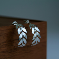 Silver Hoop Leaf Earrings, Olive Branch Handmade Earrings