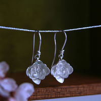 Blossom Flower Drop Earrings, Handmade in Sterling Silver, Spring Flower