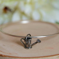 Watering Can Bracelet, Gift for Gardener, Silver Bangle
