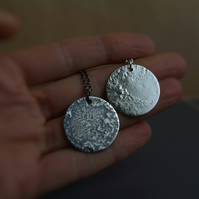 Full Moon Necklace - Moon Pendant - Silver Luna Necklace - Space Jewellery