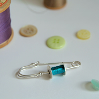 Bobbin Brooch - Sterling Silver Safety Pin - Sewing Gift