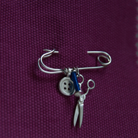 Sewing Charms Brooch, Scissors, Bobbin & Button on a Safety Pin, Sewing Gift