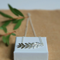 Olive Leaf Branch Necklace - Silver Grecian Style - Roman Wedding Jewellery