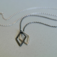 Monochrome Necklace, Geometric Pendant, Black & White Jewellery