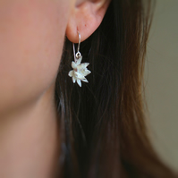 Silver Flower Drop Earrings, Lotus Flower Earrings
